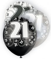 Black Glitz Age 21 Latex Balloons (6)